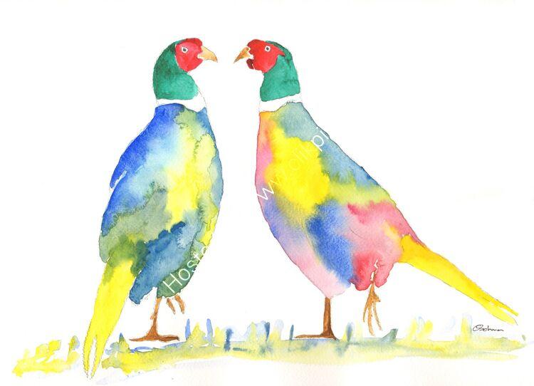 watercolour Pheasants