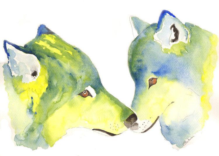 watercolour Kissing Wolves
