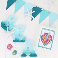 """""""Briny Blue"""" collection stationery & accessories and ocean ombre letters."""