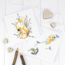 """""""Hazy Daisy Days"""" & """"Dandelion Wishes"""" greetings cards from the """"Little Acorns"""" collection."""