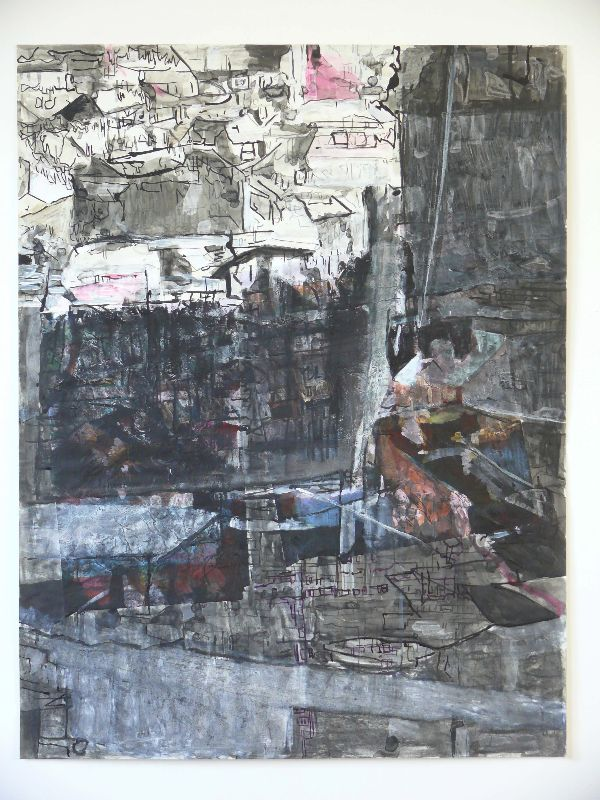 city 11 drawing,  2011, mixed media on paper 77x101cm, lost