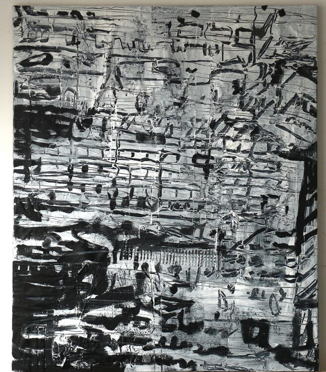 A City acrylic on junk paper and packaging on canvas 120x100cm 2020