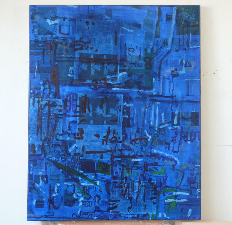 A City on Printed Matter acrylic and collage on canvas 100x80cm 2021