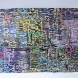 Blue and yellow City ink on packaging paper 99x75cm