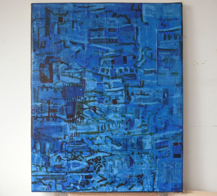 City on Packaging 2 100x80cm acrylic on paper on canvas 2021