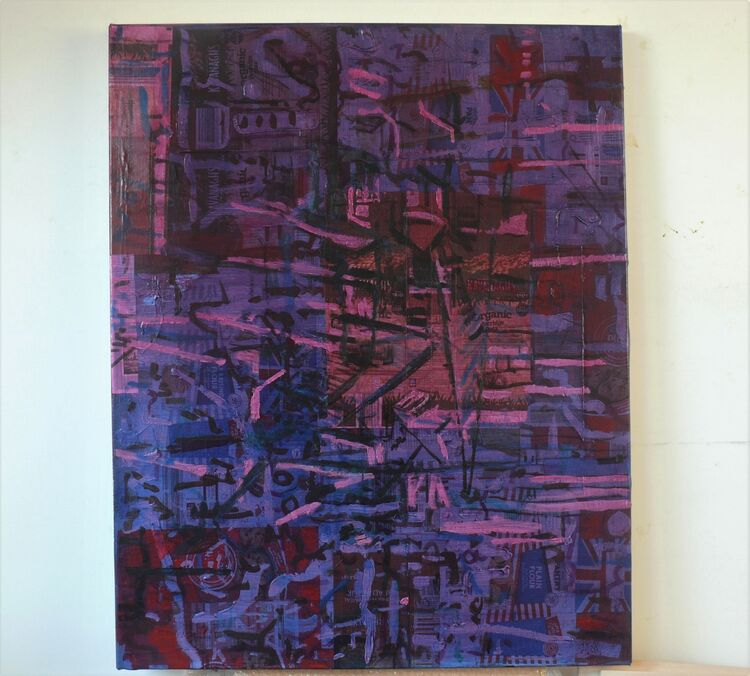 City on packaging acrylic on paper on cnvas 100x70cm 2021