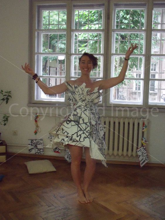 Jessie Donley wearing a dress made with Jane Walkers drawings of trams, stitched and designed by Fiona O'Neil, a collaboration in Sofia July 2017