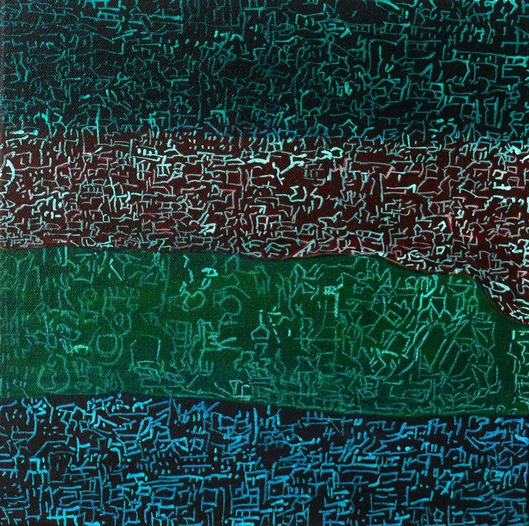 Four green cities 30x30cm acrylic on canvas 2016