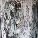 Jane Walker A Giacometti sculpture in a fashion show charcoal collage and paint on paper