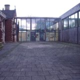 Jane Walkers exhibiton seen from outside Scunthorpe
