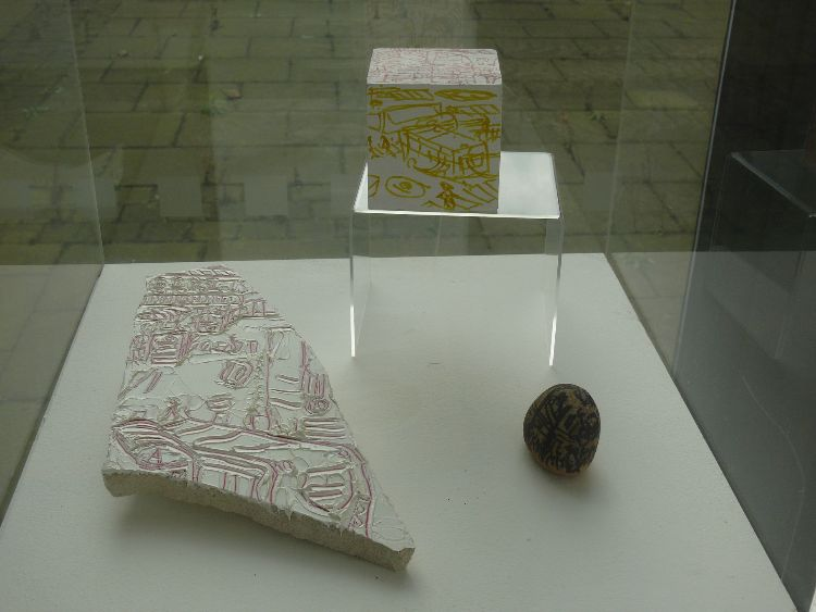 Bus Station, oil on stone, Foundry pebble, Bus station pen on wood