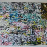 Multicoloured City  99x75cm ink on collaged packaging paper