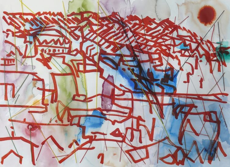 Terraced Houses watercolour and threads 56x76cm 2019