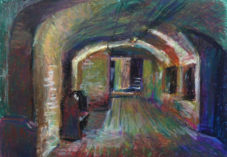 Crypt Gallery 2019 oil pastel on paper 30x40cm