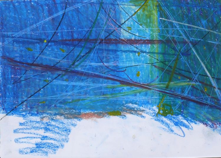 Lines in space,  oil pastel 30x40cm 2019