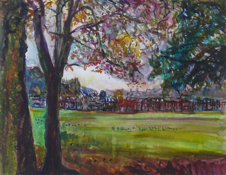 Rain in the Park 50x65cm 2019 watercolour