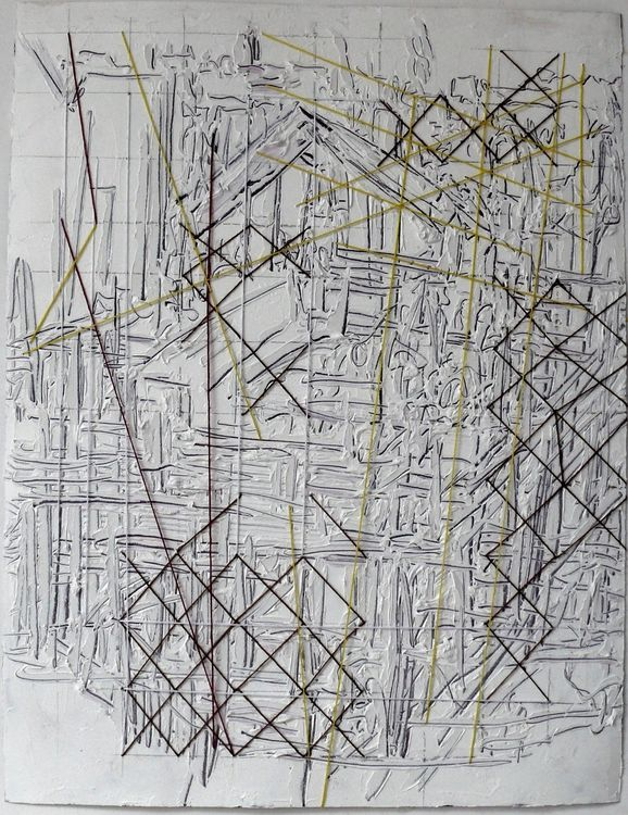 Building Site 65x50xm oil on paper with embroidery threads
