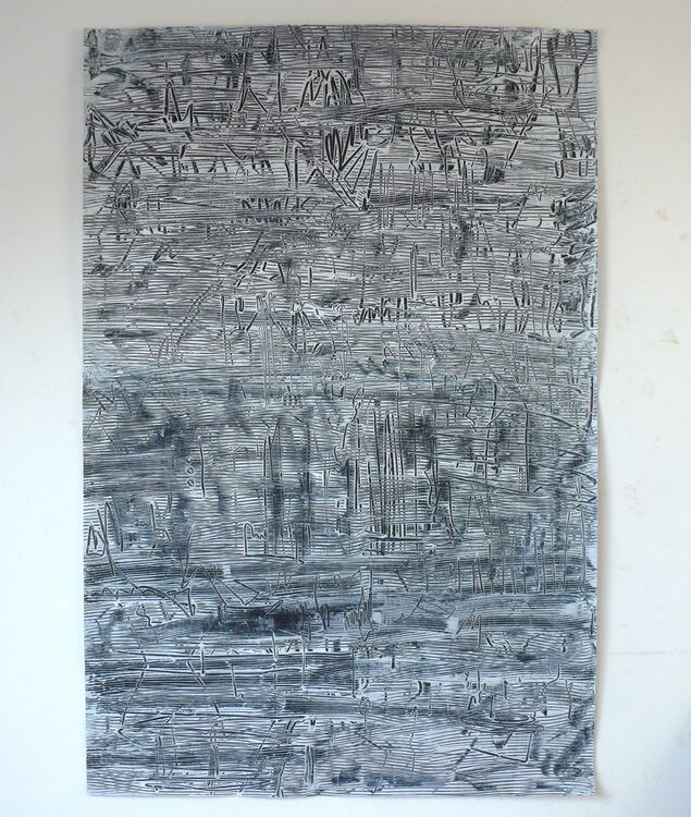 Composition, acrylic on paper 120x80cm 2020