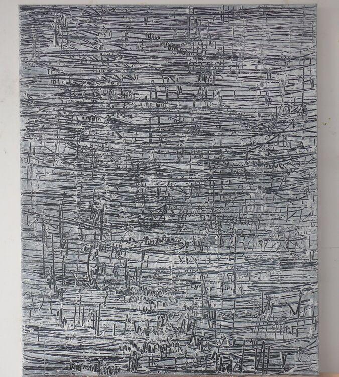 City, acrylic on collage on canvas 100x80cm 2020