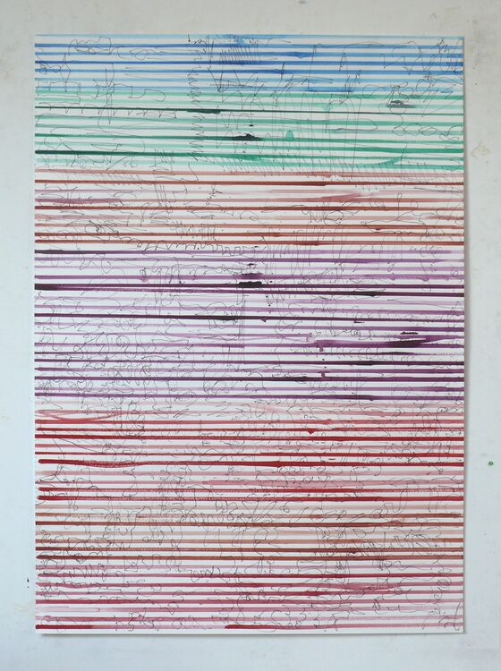 Lines, watercolour and ink on paper, 70x50cm 2021