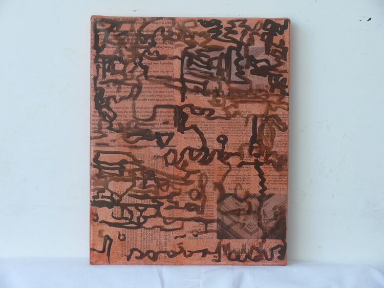 30x25xm ink and chalk on paper on canvas 2021