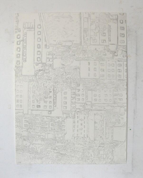City pencil on paper 76x56cm 2021