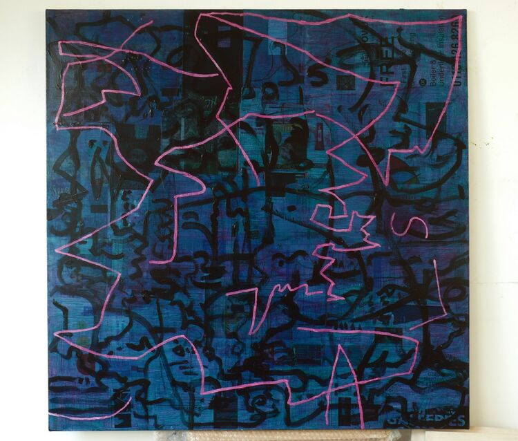 100x100cm 2021, acrylic on paper on canvas