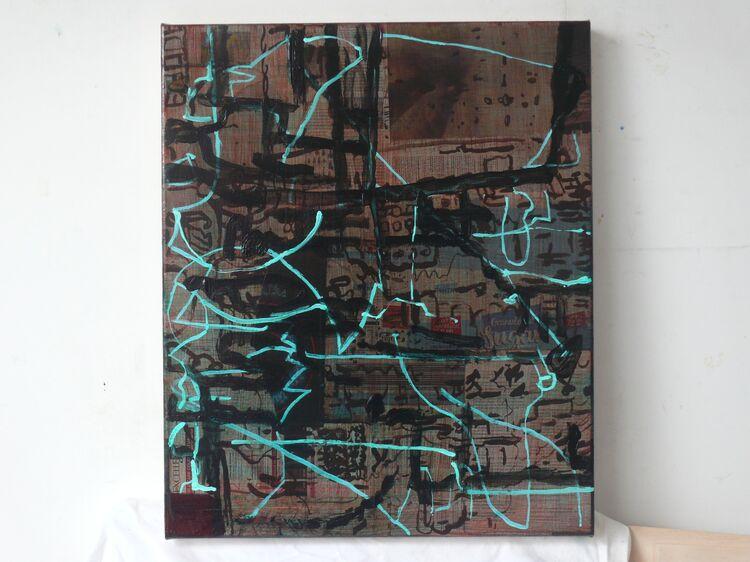 City, acrylic on collage on canvas 60x50cm 2021