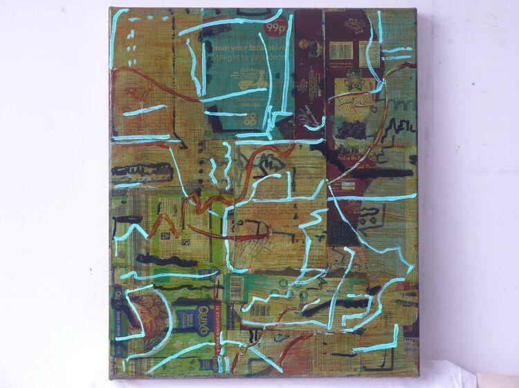 acrylic on collage on canvas 60x50cm 2021