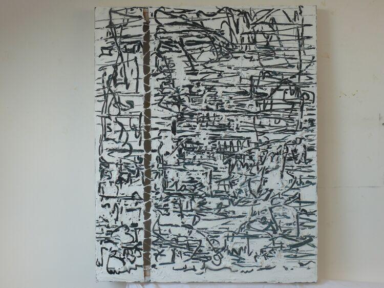 City Scar 100x80cm acrylic and paste on canvas 2021