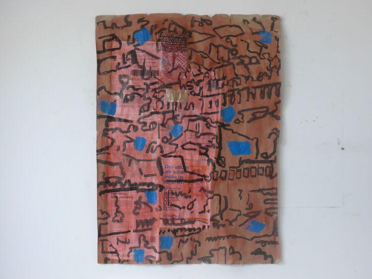 acrylic on collage 100x75cm 2021
