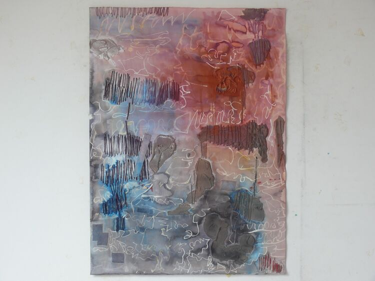 watercolour stitching sand and acrylic on paper 76x56cm 2021