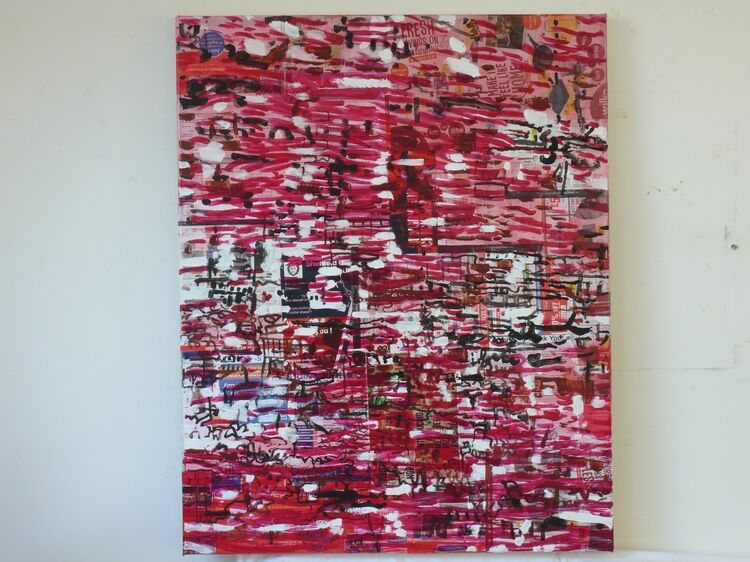Rippled Surface, 100x80cm acrylic on paper on canvas 2021