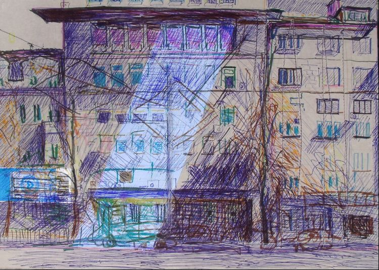 Sofia Boulevard Maria-Louisa 30x40cm pen and stitching on card