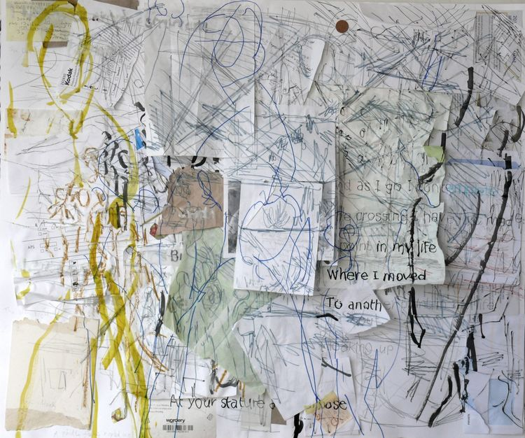 Station 2 drawing by Jane Walker with Robert Clark's poetry integrated 2019