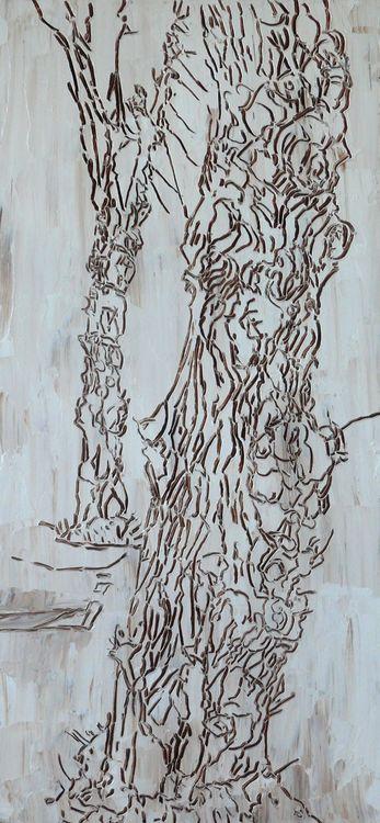 Street trees 2019 oil on panel 60x35cm
