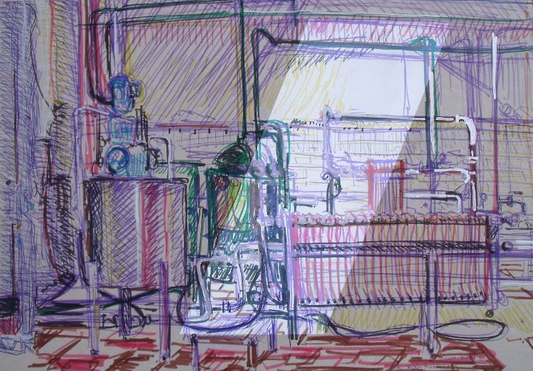 The Filter room 30x40cm pen stitching and paint on card