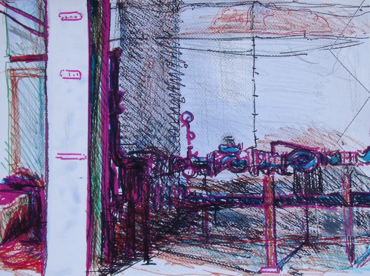 Almus Brewery Lom pen and stitching on paper 30x40cm
