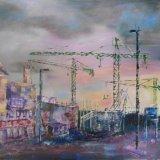 Evening Watermark Cranes Southampton
