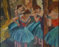 Dancers in Pink & Green - After Degas
