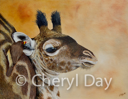 "Original Oil Painting ""The Oxpecker's Whisper"""