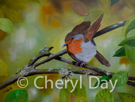 "Original oil painting ""Summer Robin"""