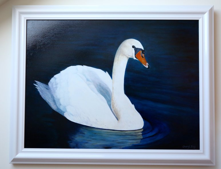 Original Oil painting of White Swan