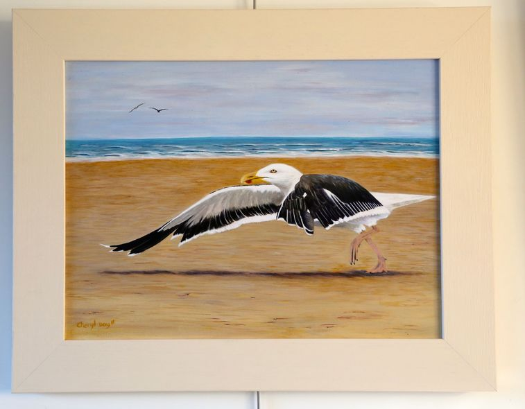 Original oil painting gull flying from Formby Sands