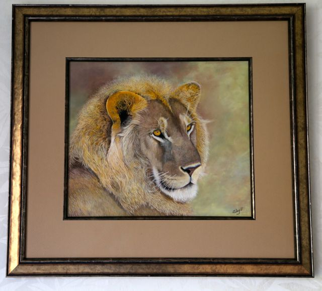 Original pastel painting Masa Mara Young Lion