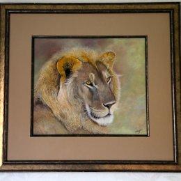 Original pastel painting Masa Mara Young Lion