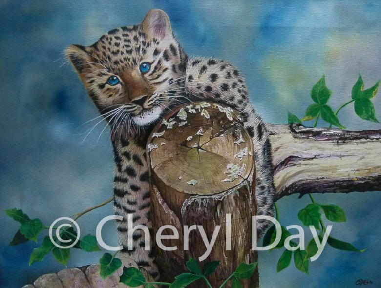 Amur Leopard Cub Climb [Sold]