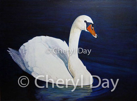 Original oil painting of a white Swan