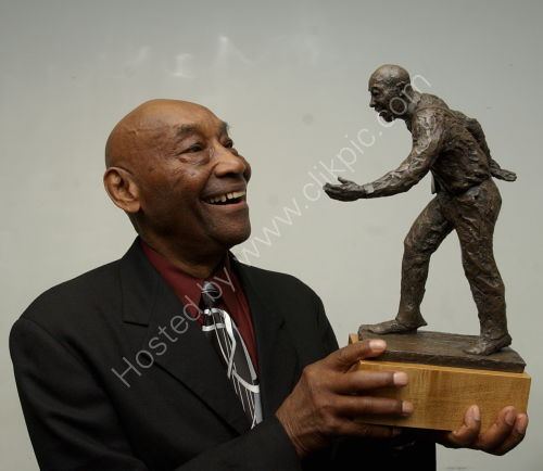 Frankie Manning with 90th Birthday gift