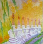 Mary Walker Stupas in Sonada India Watercolour
